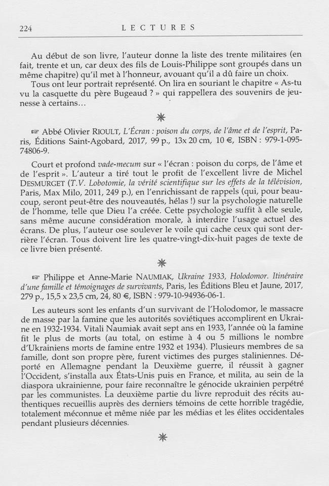 Recension dans la revue «Le sel de la terre» du livre Ukraine 1933, Holodomor de Philippe et Anne-Marie Naumiak.