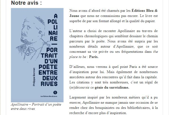 Livre : Apollinaire, Portrait d'un poète entre deux rives (France net infos)