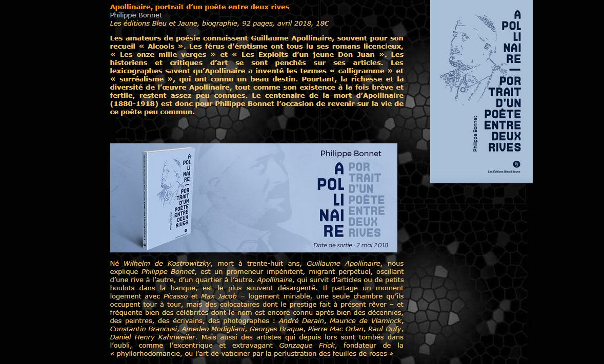 Apollinaire, Philippe Bonnet - Éditions Bleu & Jaune