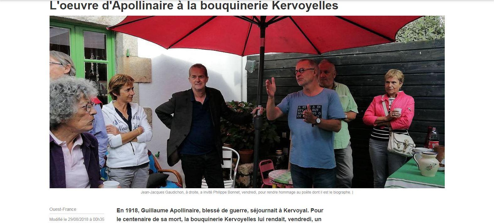 L'œuvre de Guillaume Apollinaire à la bouquinerie Kervoyelles (Ouest-France)