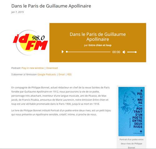 Philippe BONNET était l'invité de l'émission « Entre chien et loup » (RADIO idFM)