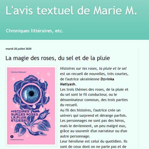 Histoires sur les roses (L'avis textuel de Marie M.)